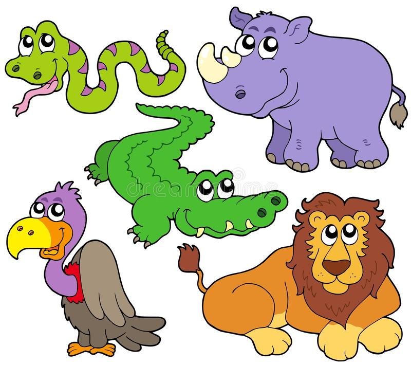 Wildlife cute animals collection vector illustration