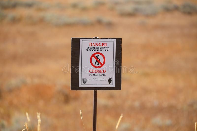 Wildlife Danger Trail ClosedsSign in Yellowstone and Grand Teton royalty free stock photography
