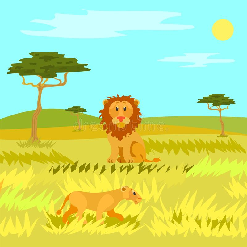 Wildlife Dangerous Animal in Savannah, Lion Vector. Sitting lion on grassland, wildlife dangerous animal in african field and hills. Panorama view of savannah vector illustration