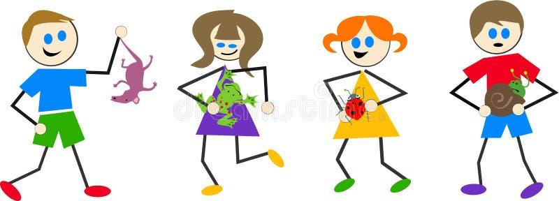 Wildlife kids. Kids with garden animals royalty free illustration