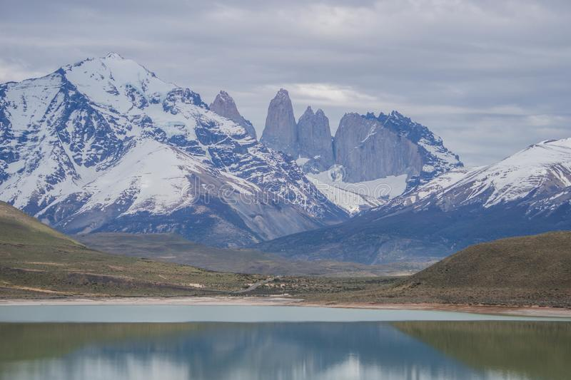 Wildlife and Nature at Parque Torres del Paine, Chile, Patagonia. Waterfalls, hills and beautiful landscapes of Chile side of Patagonia and Los Andes stock photos