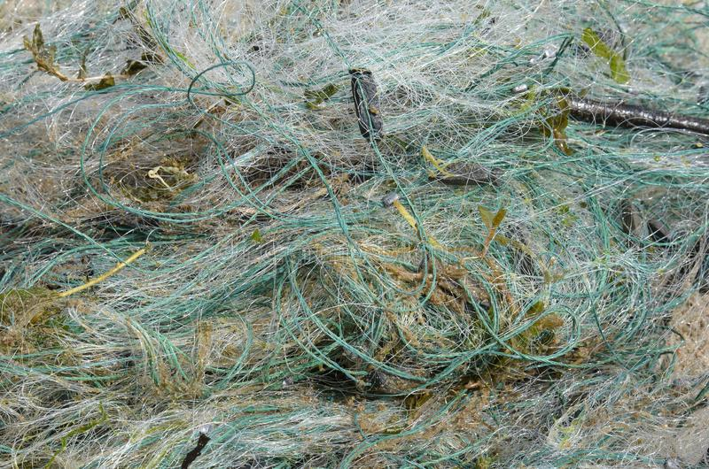 Wildlife protection, abandoned fishing net is dangerous for fish and other animals that can get into royalty free stock images