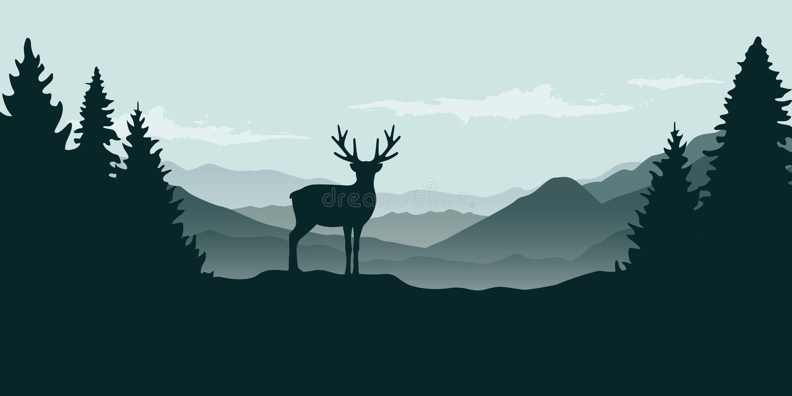 Wildlife reindeer mountain view in the fog. And forest landscape vector illustration EPS10 stock illustration