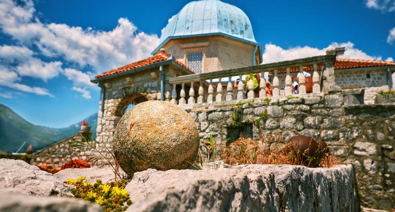 Wildlife on stones of orthodox church Island Gospa od Skrpjela Perast Boka Kotorska Montenegro.  stock images