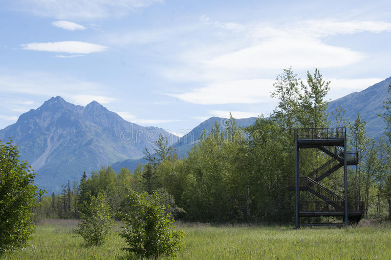 Download Wildlife Viewing Tower Reflections Lake Alaska Stock Image - Image of game, background: 56619137