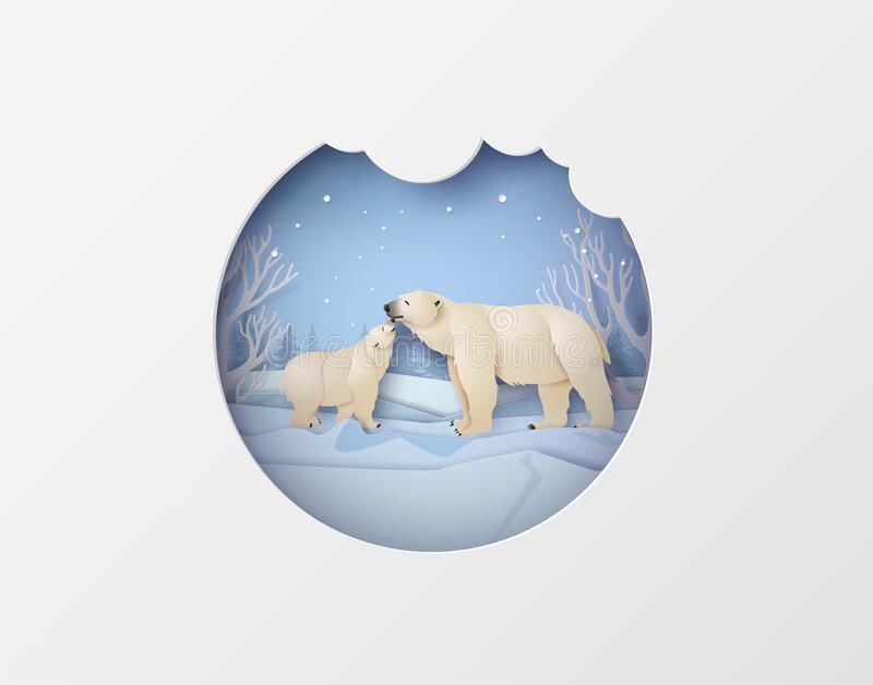 Wildlife Winter Scenes con orso polare illustrazione di stock