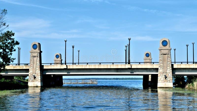 Wile d'avvicinamento di Bemidji del lago che dirige Nord sul fiume Mississippi fotografia stock libera da diritti