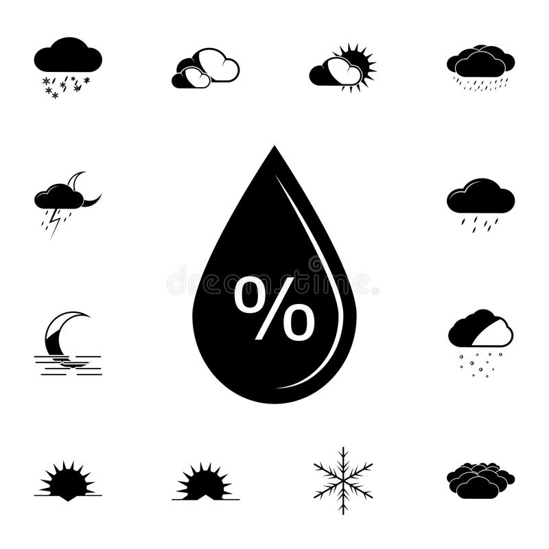 wilgotnościowa odsetek ikona Szczegółowy set Pogodowe ikony Premia graficzny projekt Jeden inkasowe ikony dla stron internetowych ilustracji