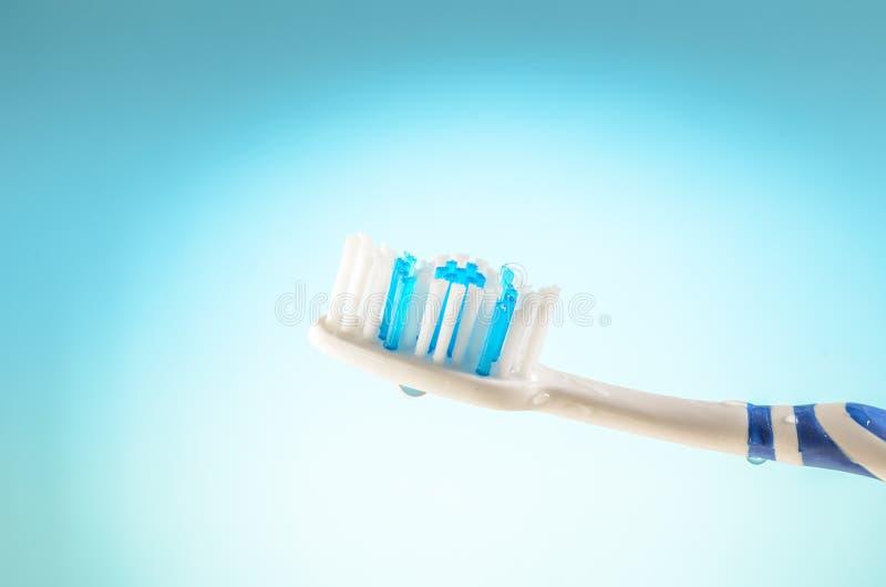 Wilgotny toothbrush na błękitnym tle, zakończenie w górę fotografia stock