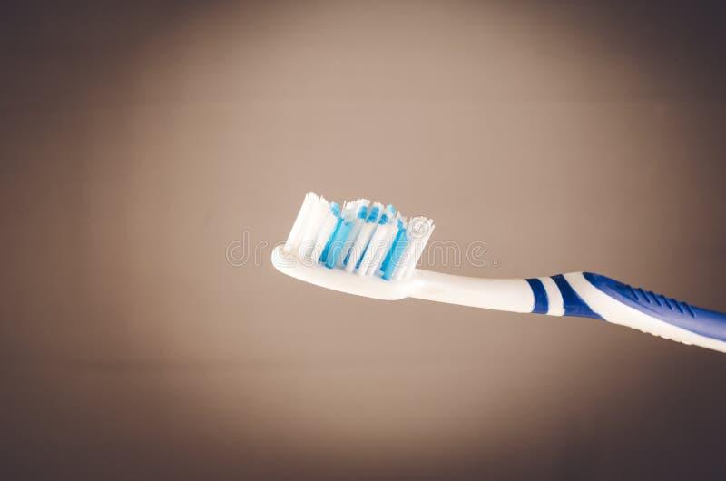Wilgotny toothbrush na szarym tle, zakończenie w górę fotografia stock