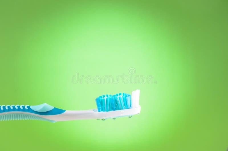 Wilgotny toothbrush na zielonym tle, zako?czenie w g?r? obrazy stock