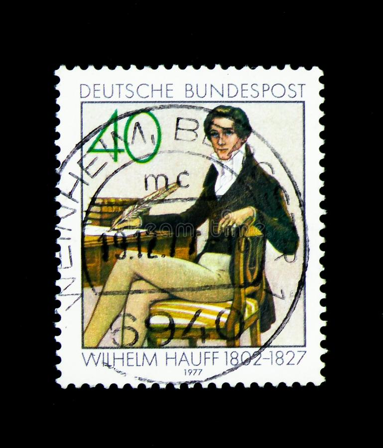 Wilhelm Hauff, 150ste Doodsverjaardag van Wilhelm Hauff serie, stock foto