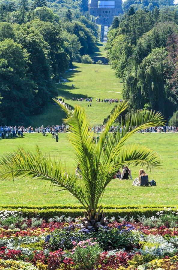 Wilhelmshoehe kasztelu park w Kassel, Niemcy obraz stock