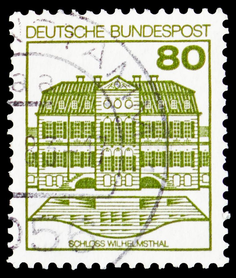 Wilhelmsthal Castle, Strongholds and Castles serie, circa 1982. MOSCOW, RUSSIA - FEBRUARY 20, 2019: A stamp printed in Germany, Federal Republic, shows royalty free stock photos