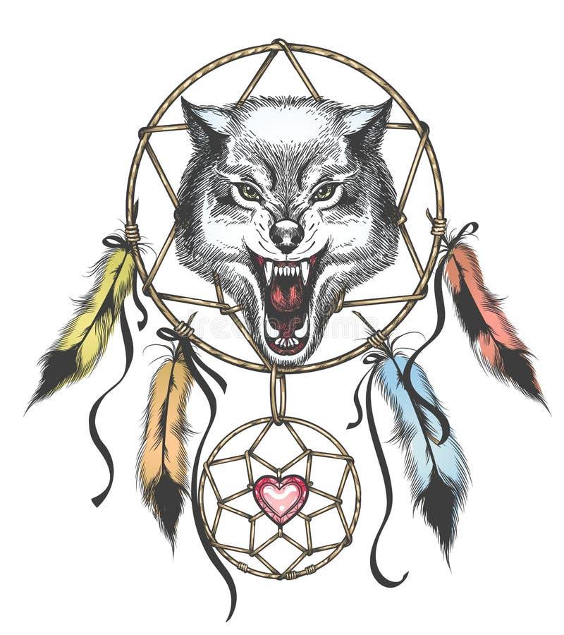 Etniczny Totem Wilk Indiański Wilk Tatuaż Wilk Z Ornamentem