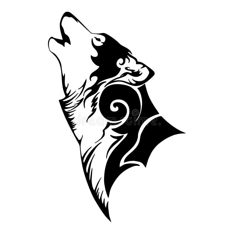 Wilk głowa i wycie plemienny tatuaż ilustracja wektor