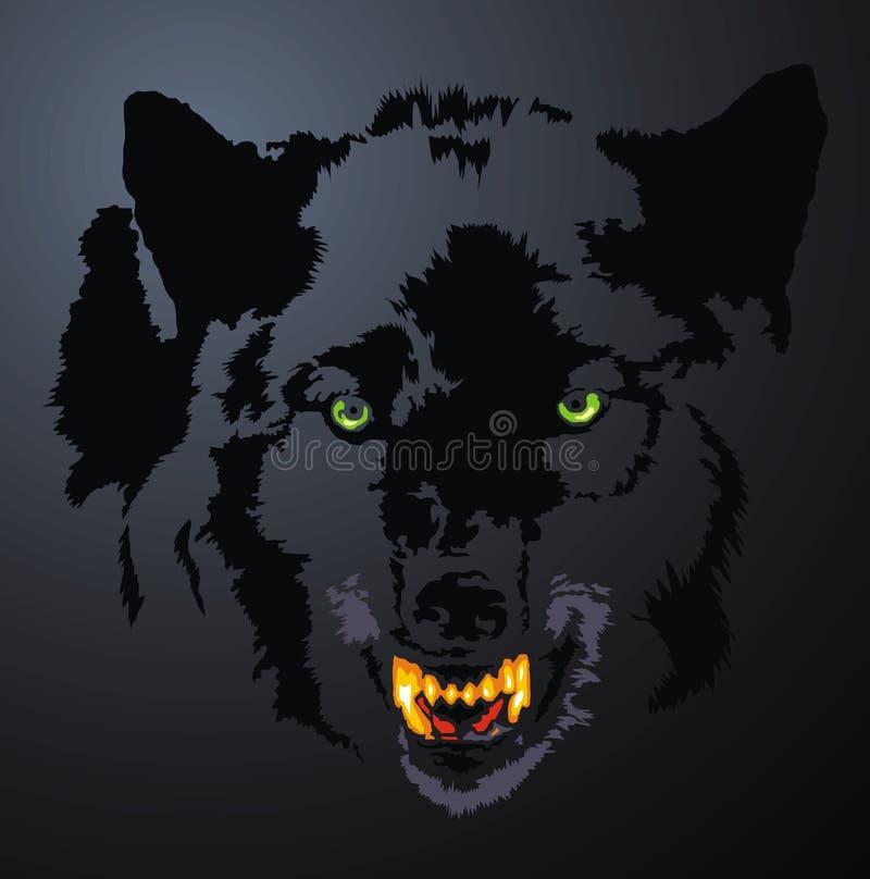 Wilk głowa w ciemnej nocy ilustracji