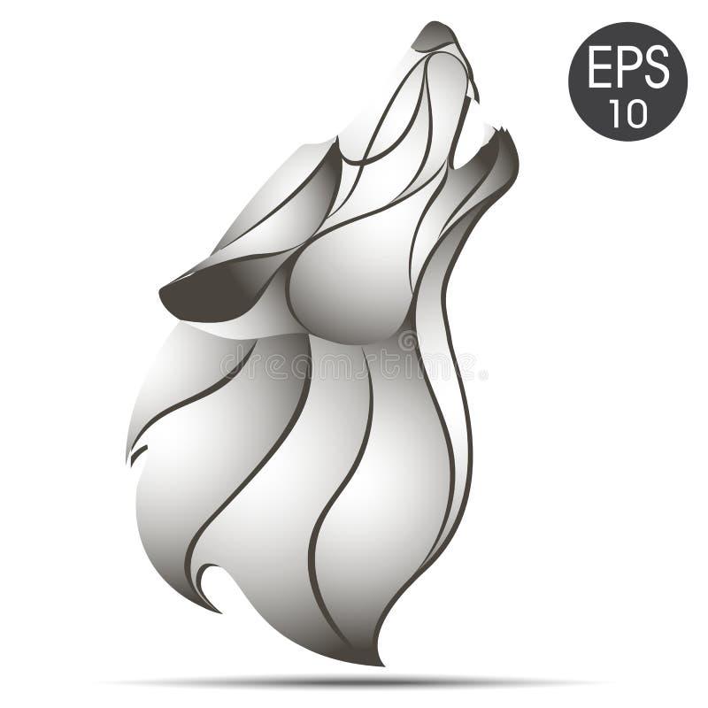 Wilk głowy profilu logo Wilczy wycie przy księżyc projekta ilustraci zapasu use wektor twój royalty ilustracja