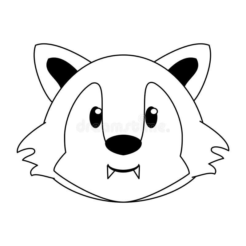 Wilk kierowniczej przyrody ?liczna zwierz?ca kresk?wka w czarny i bia?y ilustracji