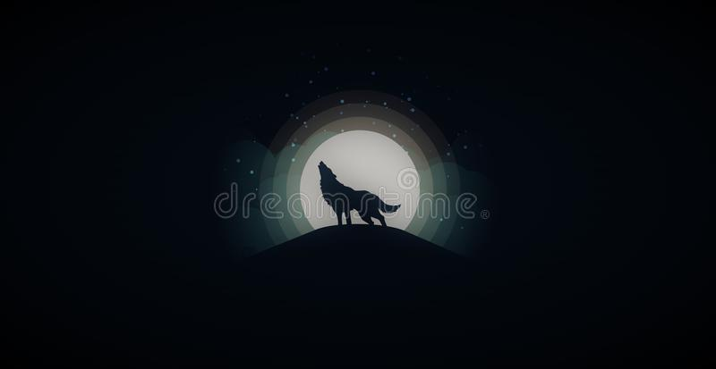 Wilk - księżyc w pełni tapeta obraz royalty free