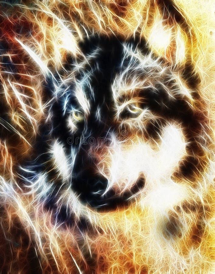 Wilk, multicolor kolażu fractal skutek ilustracji