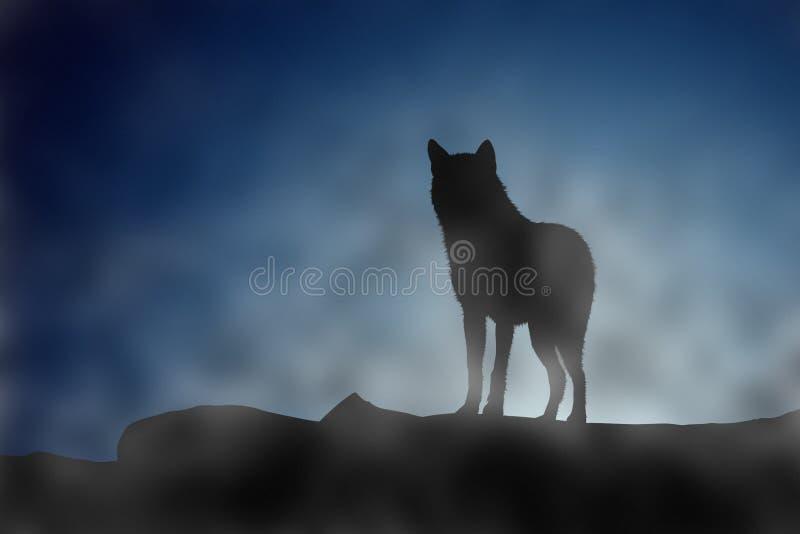 Wilk na moonset ilustracji