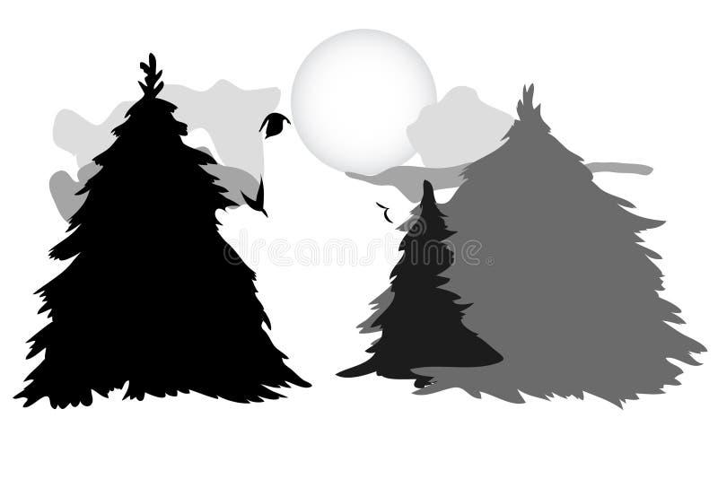 Wilk w drewnach ilustracji