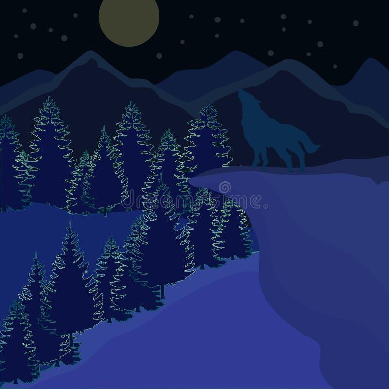Wilk w noc widoku w górze ilustracji