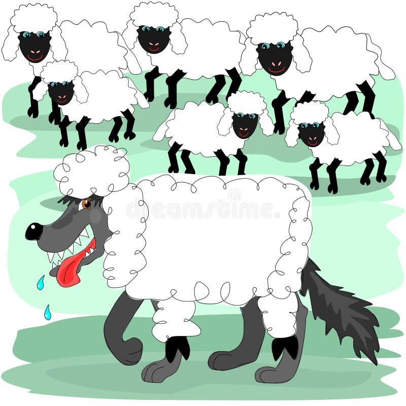 Wilk w sheeps odziewać ilustracja wektor