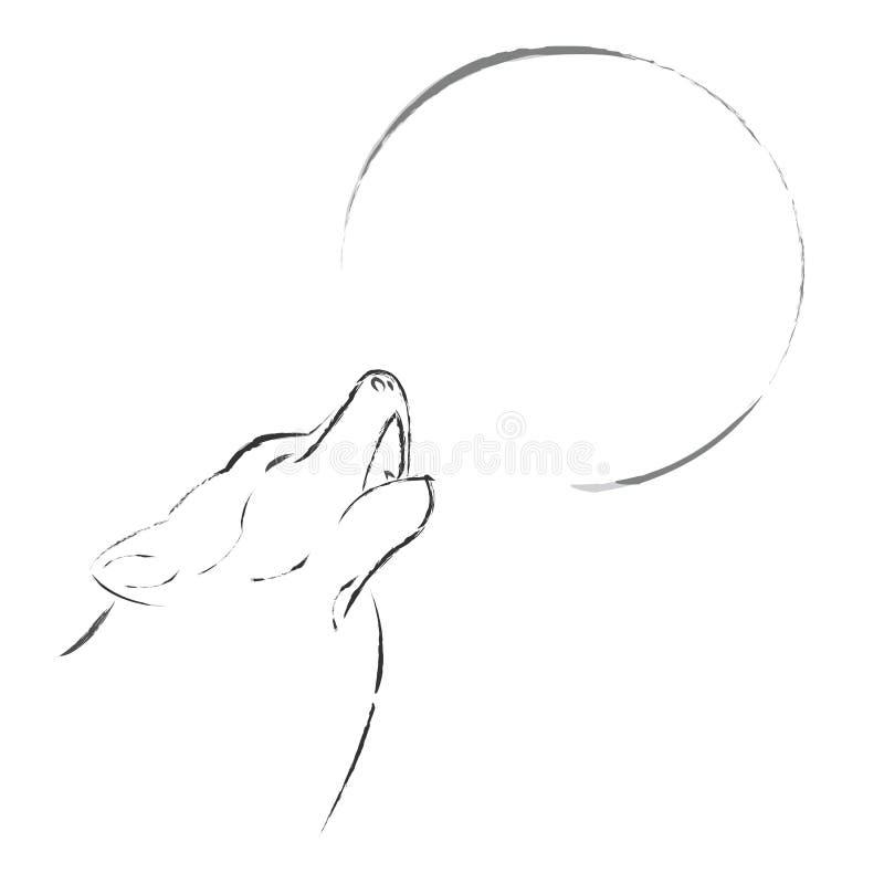 Wilk wy na księżyc w pełni ilustracja wektor