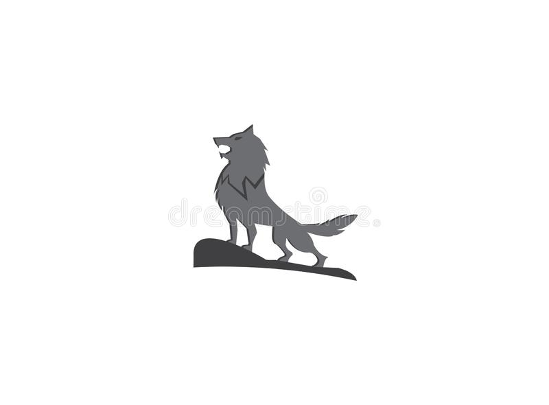 Wilk wy na odgórnej górze dla logo ilustracyjnego projekta royalty ilustracja