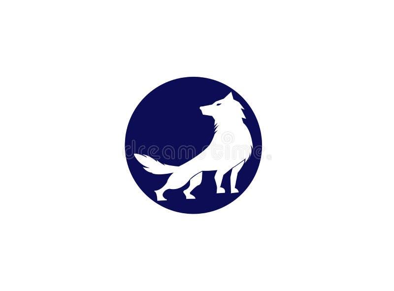 Wilk wy na odgórnej księżyc dla logo ilustracyjnego projekta i górze ilustracji