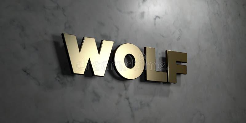 Wilk - złoto znak wspinający się na glansowanej marmur ścianie - 3D odpłacająca się królewskości bezpłatna akcyjna ilustracja royalty ilustracja