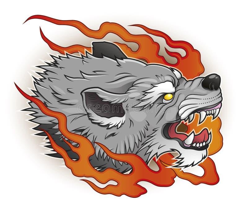 Wilk z płomieniami royalty ilustracja