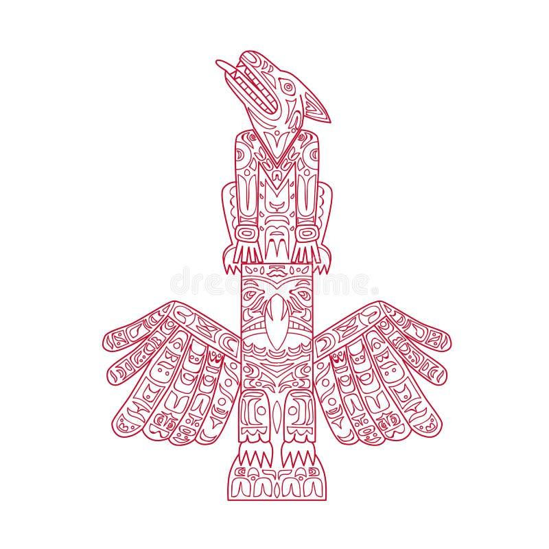 Wilka i Eagle totemu słupa Doodle sztuka ilustracja wektor