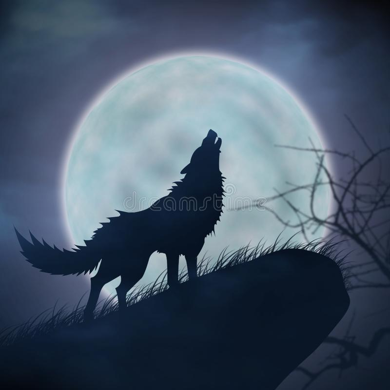 Wilka księżyc w pełni i wycie royalty ilustracja