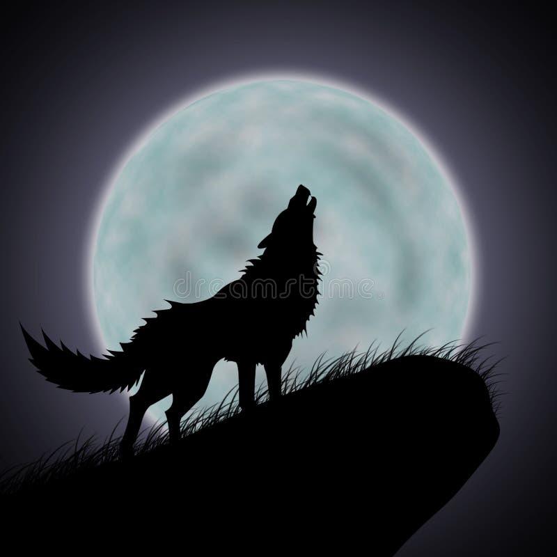Wilka księżyc w pełni i wycie ilustracji