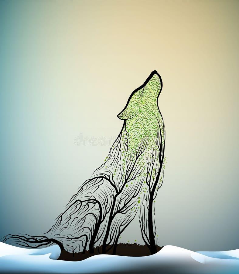 Wilka wygaśnięcia pojęcie, duch należny barwiarski wilk lasowy wygaśnięcie, wilczy spojrzenie jak gałąź w zimie ilustracja wektor
