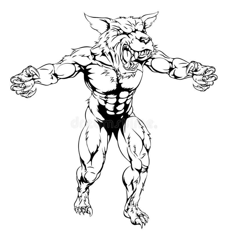 Wilkołak maskotka ilustracja wektor