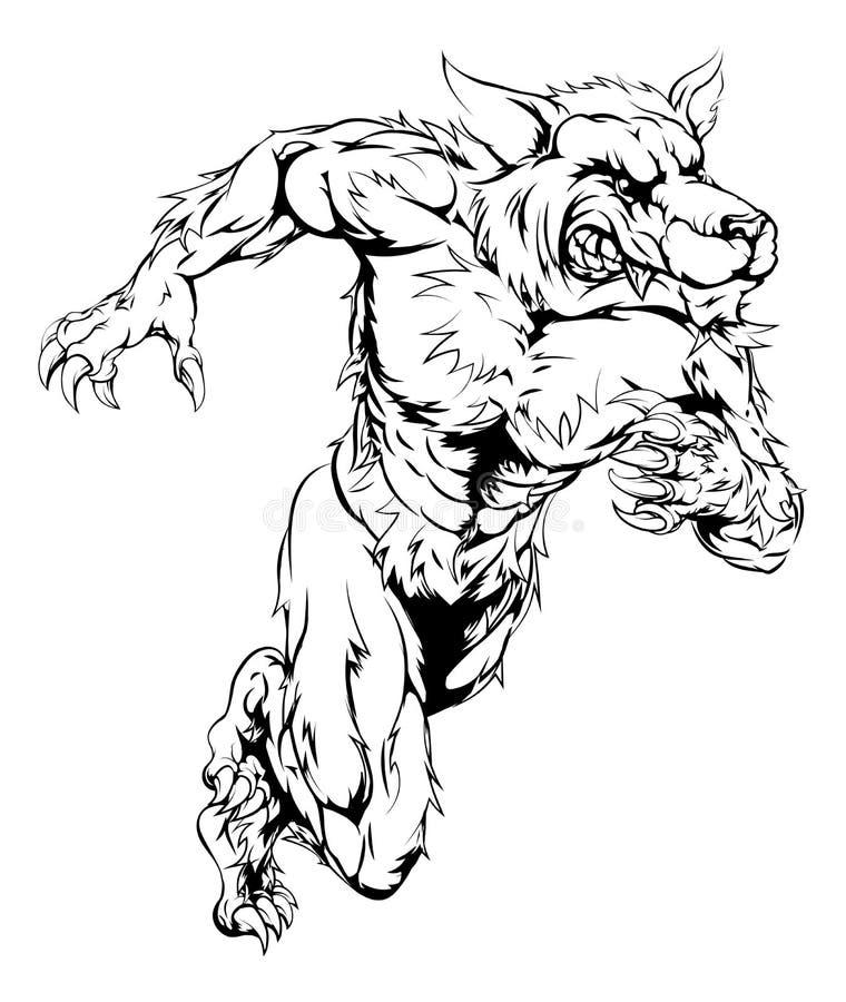Wilkołaka wilk bawi się maskotka bieg royalty ilustracja