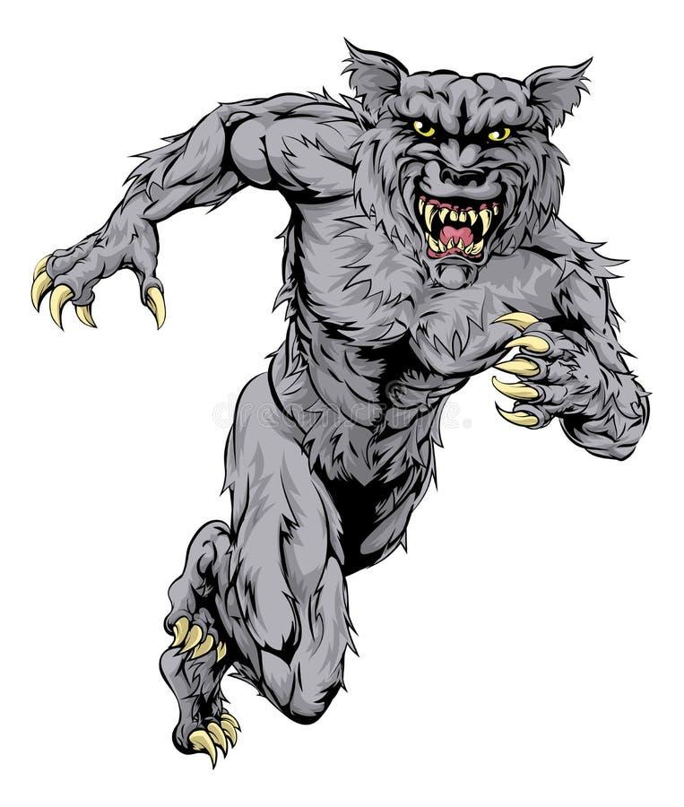Wilkołaka wilk bawi się maskotka bieg ilustracja wektor