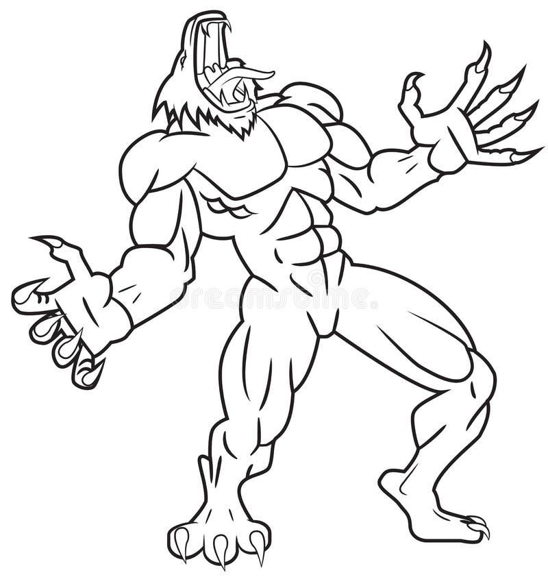 Wilkołaka wycie ilustracja wektor