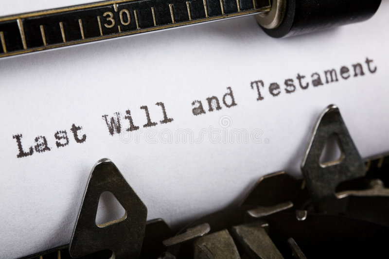 Will. Typewriter close up shot, Concept of last will