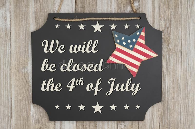 We will be closed the 4th of July Independence Day message stock image