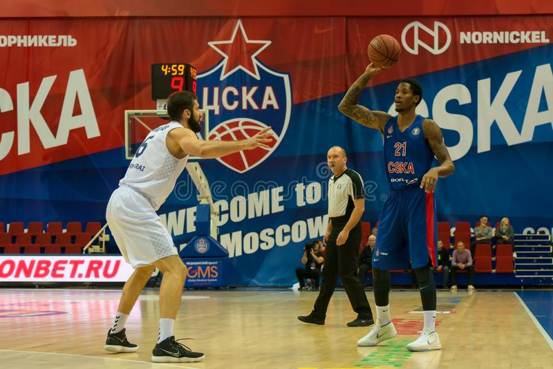 Will Cliburn 21 before a defender. MOSCOW, RUSSIA - OCTOBER 29, 2018: Will Cliburn 21 in a basketball game CSKA vs Parma Perm on the regular championship of the stock photo