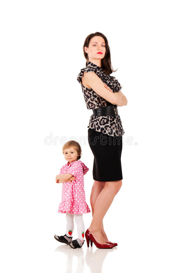 Will I be like mommy?. Back to back with business mommy royalty free stock photo