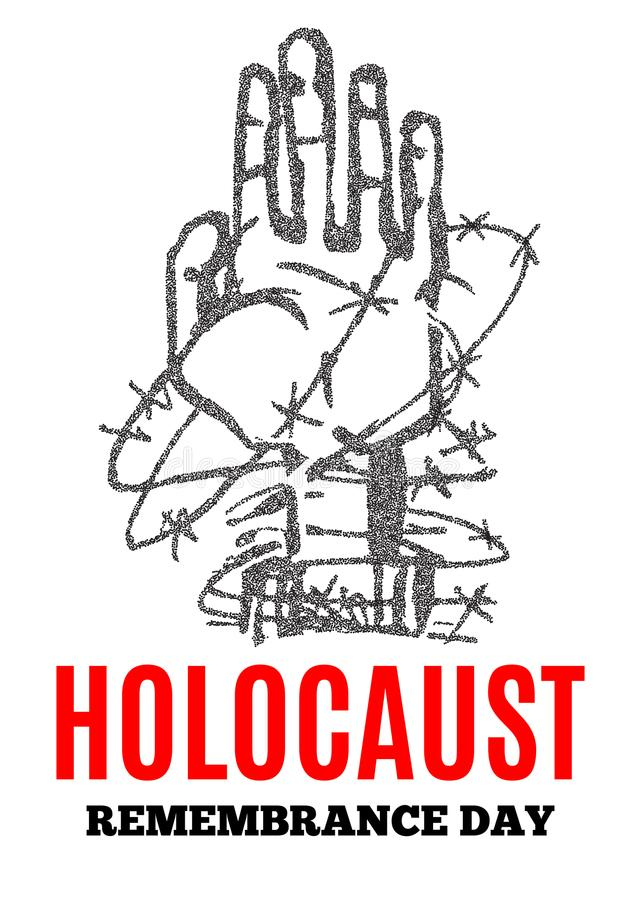 We Will Never Forget. Holocaust Remembrance Day. Yellow Star David. International Day of Fascist Concentration Camps and Ghetto Pr royalty free illustration