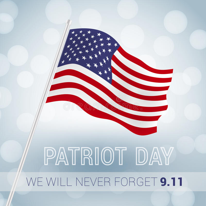 We will never forget. 9. 11 Patriot Day with USA flag illustration. vector vector illustration
