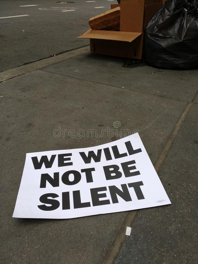 We Will Not Be Silent, Protest Sign From The New York City Labor Day Parade, NYC, NY, USA royalty free stock photos