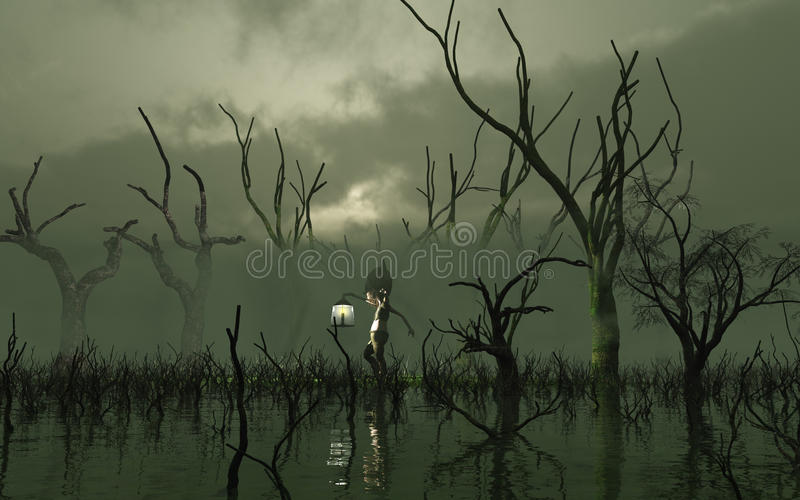 Will O' The Wisp in a misty swamp. 3d Digitally rendered illustration of a Will O' the Wisp carrying a lantern through a misty swamp with dead trees vector illustration